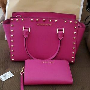 Michael Kors Hot Pink Gold Stud Leather Purse Set